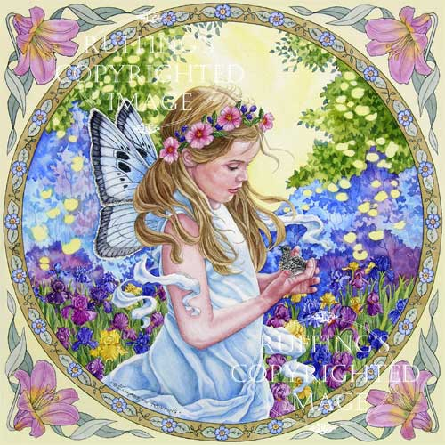 The Fairy and The Dove fairy with a baby dove watercolor painting by artist Elizabeth Ruffing