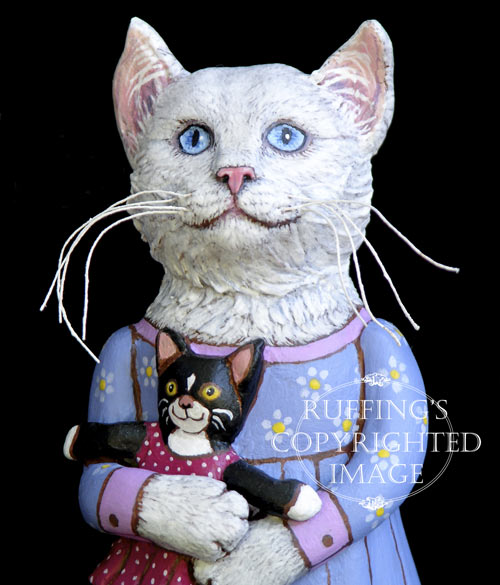 Lily and Caroline, Original One-of-a-kind White and Tuxedo Cat Folk Art Doll Figurine by Max Bailey