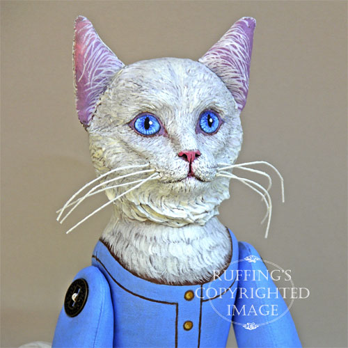 Snowbelle, Original One-of-a-kind White Turkish Angora Folk Art Cat Doll by Max Bailey