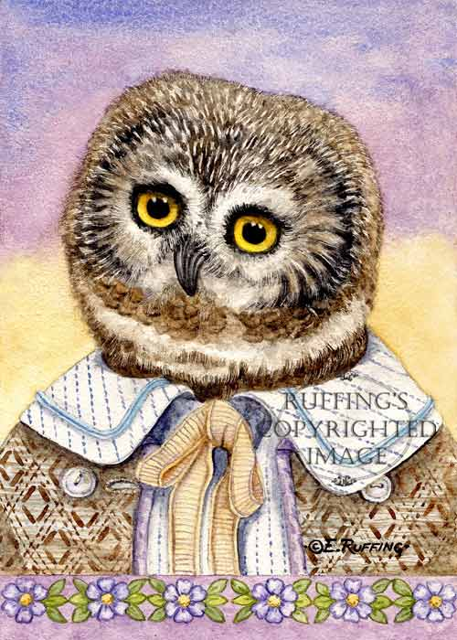 """Henry the Owl"" ER35 by Elizabeth Ruffing Northern Saw-whet Owl"