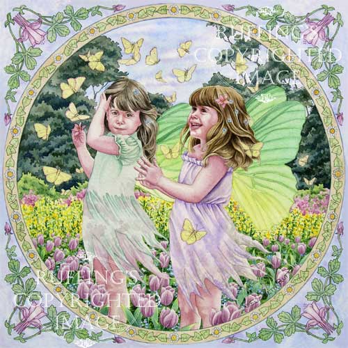 Fairies and Butterflies twin fairies watching flying butterflies watercolor painting by artist Elizabeth Ruffing