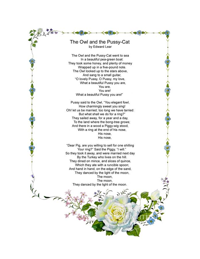 """The Owl and the Pussy-Cat"" poem by Edward Lear"